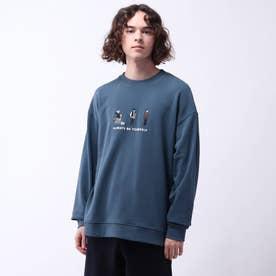 フロント刺繍裏毛プルオーバー (ブルー)
