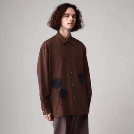 シルエットフラワーエンブロシャツ (ブラウン)