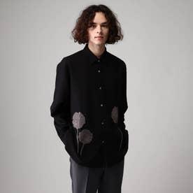 シルエットフラワーエンブロシャツ (ブラック)