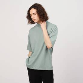 マイクロキャラメルモクネック5分袖Tシャツ(ユニセックスアイテム) (ライトグリーン)