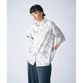 レトロバイアスプリント半袖シャツ(ユニセックスアイテム) (オフホワイト)