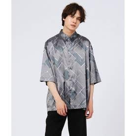レトロバイアスプリント半袖シャツ(ユニセックスアイテム) (チャコールグレー)
