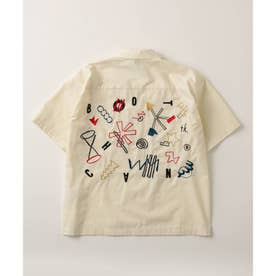 BOTCHAN×tk.TAKEO KIKUCHI「ちょっとそこに宇宙」ボウリングシャツ(ユニセックスアイテム) (アイボリー)