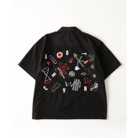 BOTCHAN×tk.TAKEO KIKUCHI「ちょっとそこに宇宙」ボウリングシャツ(ユニセックスアイテム) (ブラック)