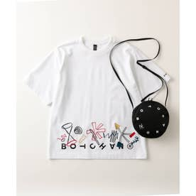 BOTCHAN×「ちょっとそこに宇宙」エンブロTシャツ(ユニセックスアイテム) (ホワイト)