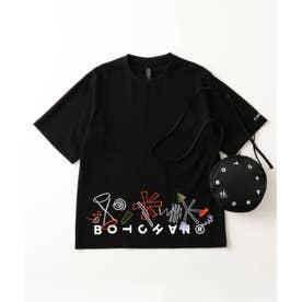 BOTCHAN×「ちょっとそこに宇宙」エンブロTシャツ(ユニセックスアイテム) (ブラック)