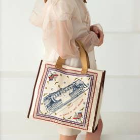 スカーフ ミリタリー柄 マチあり トートバッグ (ベージュ)