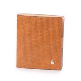 メッシュ柄型押し・二つ折りミニ財布 RITMO リトモ (キャメル)