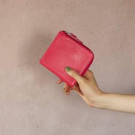 ソフトスムースレザー・Lファスナースクエアウォレット Mellow (ピンク)