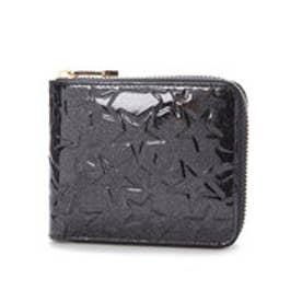 エナメルラウンドファスナー二つ折り財布 Sparkle star (ブラック)