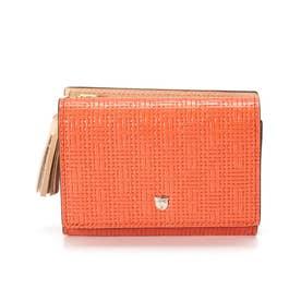 メッシュ柄型押し・三つ折り財布RITMO[リトモ] (コーラルオレンジ)