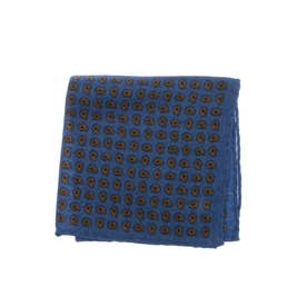 WOOL PRINT POCKET SQUARE (ブルー)