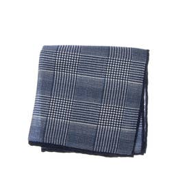 WOOL CHECK PRINT POCKET SQUARE (ネイビー)
