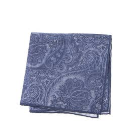COTTON PRINT POCKET SQUARE (ブルー)