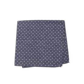 COTTON SILK DOUBLE POCKET SQUARE (ネイビー)