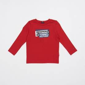 ステッカープリントロングTシャツ (レッド)