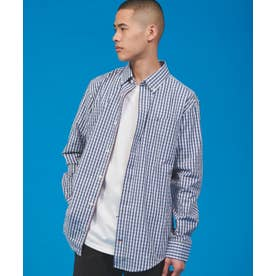 JS M DOOLEY PLAID LS - STRETCH CF (ブルー)