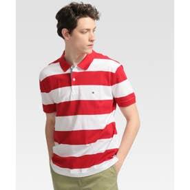 ブロックストライプ半袖ポロシャツ (レッド)