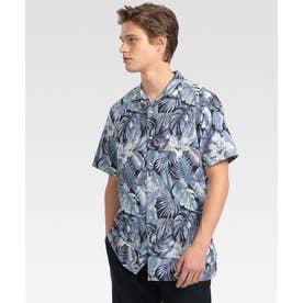 ハワイアンプリントシャツ (ブルー)