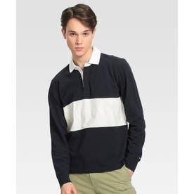 カラーブロックラグビーシャツ (ネイビー)