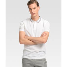 ストライプカラーポロシャツ (ホワイト)