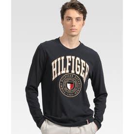 シールドロゴ ロングスリーブ Tシャツ (ネイビー)