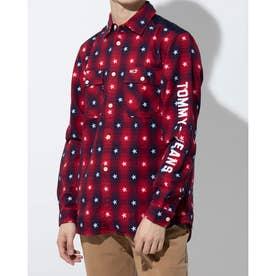 スター×チェックシャツ (レッド)