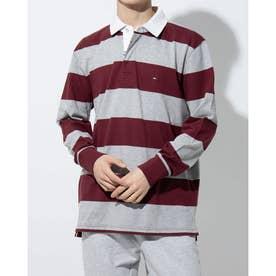 ブロックストライプラグビーシャツ (ボルドー)