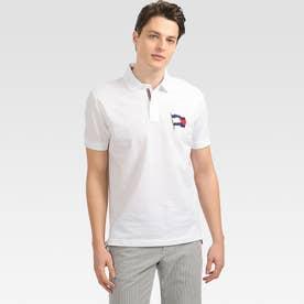 レギュラーフィットフラッグポロシャツ (ホワイト)
