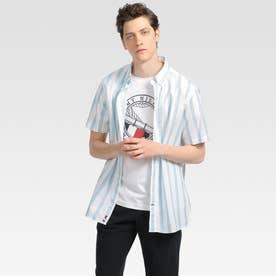 ストライプ ショートスリーブシャツ (グレー)