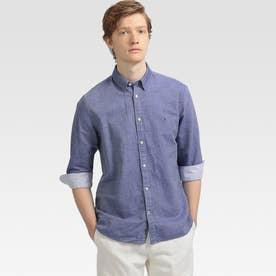 コットンリネンツイルシャツ (ブルー)
