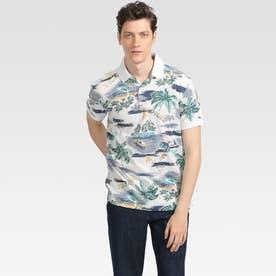 トロピカルプリント ポロシャツ (ホワイト)