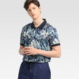 トロピカルプリントポロシャツ (ブルー)