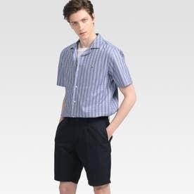 ストレッチストライプ ショートスリーブシャツ (ブルー)