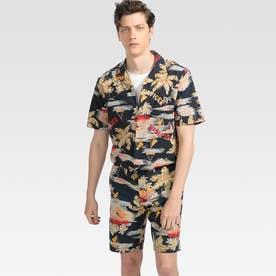 トロピカルプリントショートスリーブシャツ (ネイビー)
