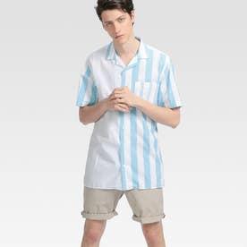 ストライプパッチワークシャツ (ブルー)