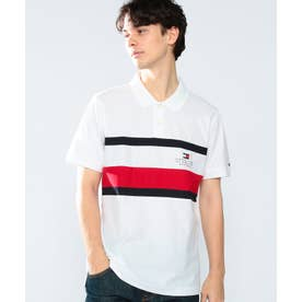 スリムフィットストライプポロシャツ (ホワイト)