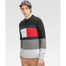 オーバーサイズフラッグロゴセーター (ブラック)