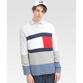 オーバーサイズフラッグロゴセーター (グレー)