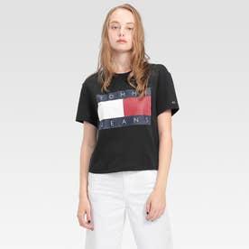 フラッグクロップドTシャツ (ブラック)