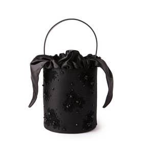 フラワー&ビジューバケツバッグ (ブラック)