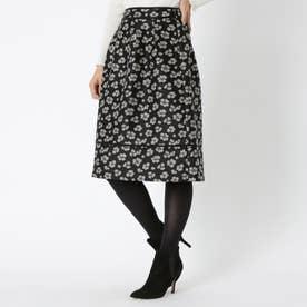 アニマルフラワージャカード スカート (ブラック)
