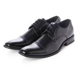 メンズ ビジネスシューズ 紳士靴 ドレスシューズ クッション性 防滑 ストレートチップ (ブラック)