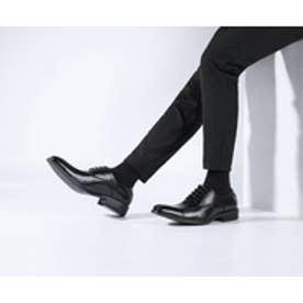 メンズ ビジネスシューズ 紳士靴 ドレスシューズ 防滑 スワローモカ 外羽根 (ブラック)