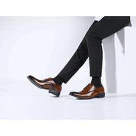 メンズ ビジネスシューズ 紳士靴 ドレスシューズ 防滑 スワローモカ 外羽根 (ブラウン)