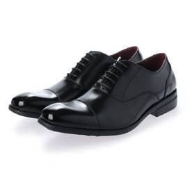 メンズ ビジネスシューズ 紳士靴 ドレスシューズ 通気性 消臭 幅広 軽量 ストレートチップ 内羽根 レザー (ブラック)