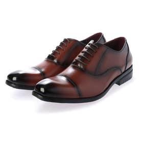 メンズ ビジネスシューズ 紳士靴 ドレスシューズ 通気性 消臭 幅広 軽量 ストレートチップ 内羽根 レザー (ブラウン)