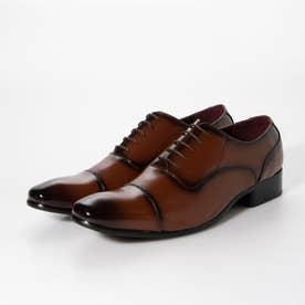 メンズ ビジネスシューズ 紳士靴 ドレスシューズ  ストレートチップ 防滑 内羽根 レザー (ブラウン)