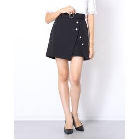 ラップ風台形スカート (ブラック)