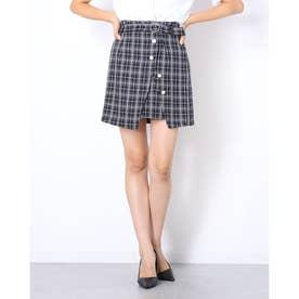 ラップ風台形スカート (ブラック系)